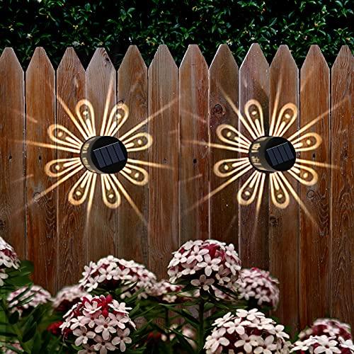 NEWNEN Solar Deck Lights,Solar Fence Lights Outdoor IP67 Waterproof Solar Wall Lights Lighting Decor for Garden, Path, Table, Fence, Stair, Patio, Pool Backyard(2 Pack,Warm White)