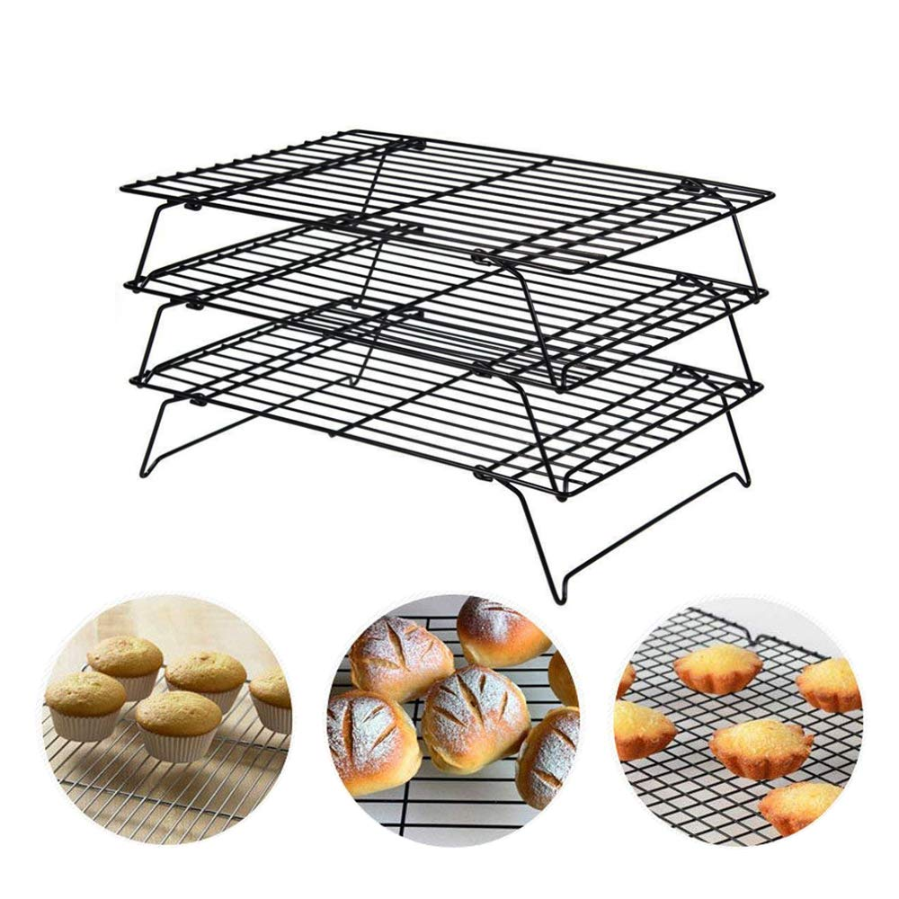 3-Tier Cooling Rack, Stackable Non-Stick Cross Grid Cookie Cooling Rack Baking Supplies for Bread Cake Biscuits and More