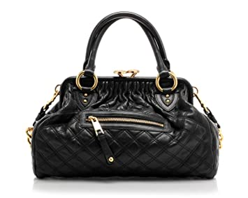 483eb6b0a09 Amazon.com : Marc Jacobs Quilted Stam Black With Brass Leather Handbag ( Black) : Top Handle Handbags : Beauty
