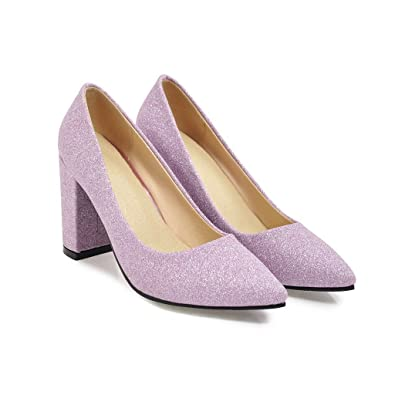 CXQ-Heels QINX Damen Block Heel Schuhe Flache Mund Schuhe