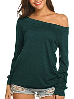 bce341fd195789 Newchoice Women's Sexy Off The Shoulder T-Shirt Casual Long Sleeve Boat  Neck Blouse Tops