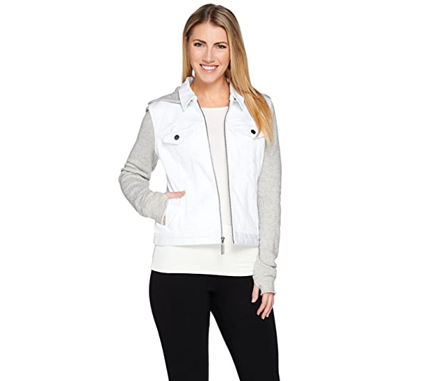 Peace Love World French Terry Denim Zip Front Hooded Jacket White L New A