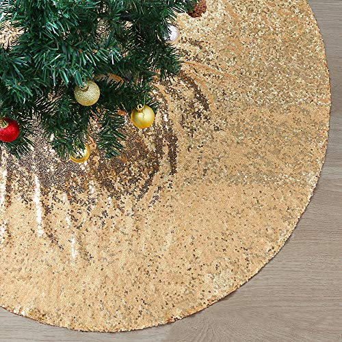 SoarDream Christmas Tree Skirt 48 inches Large Gold Sequin Tree Skirt for Xmas Holiday Party Decorations