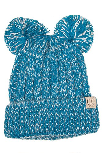 ScarvesMe CC Children Kids Girl Boy Ages 2-7 Two Tone Knitted Chunky Thick Stretchy Solid Color Pom Pom Beanie by ScarvesMe