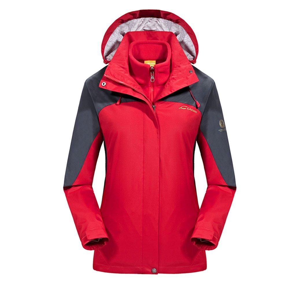 Rouge M(Buste vêteHommests  92cm) ehommesmoer Femme 3 en 1 Coupe-vent Capuche Imperméable de plein air Sport Veste de camping randonnée Manteau avec Veste polaire