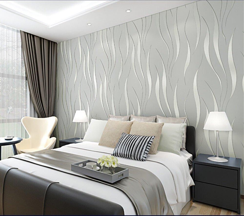 Papel pintado 3d minimalista moderno flocado en relieve cubierto no tejido dormitorio sala de estar telón de fondo pared tv papel tapiz comprar tres obtener uno ( Color : Silver ) longwei