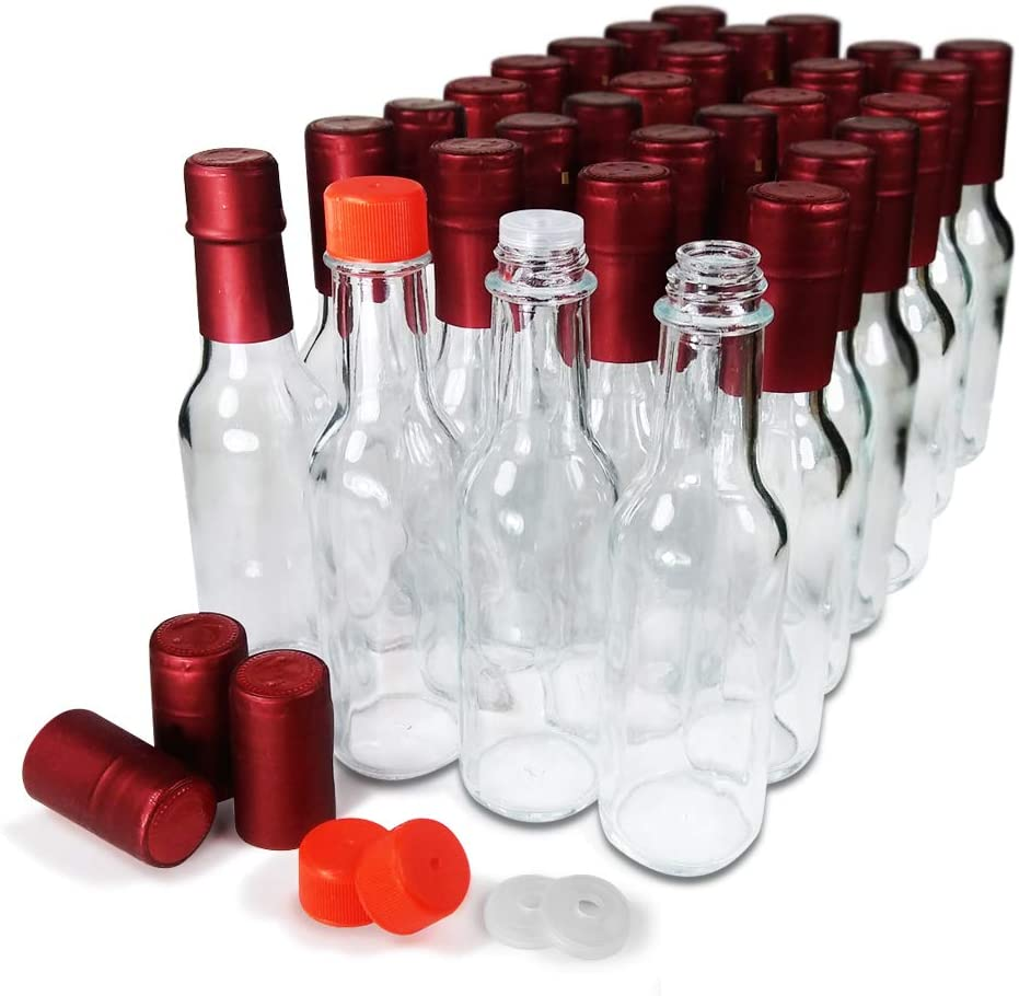 Hot Sauce Woozy Bottles Empty 5 Oz Complete Sets of Premium Commercial Grade Clear Glass Dasher Bottle with Shrink Capsule, Leak Proof Screw Cap, Snap On Orifice Reducer Dripper Insert (Red 30 Sets): Home Improvement