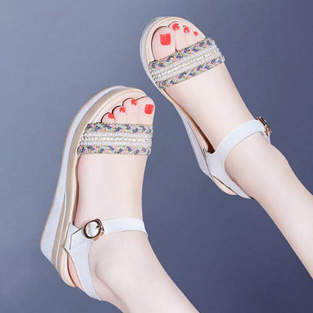 FAFZ Cuñas Sandalias Zapatos Tacones altos Sandalias bohemias de verano Sandalias romanas Sandalias planas,Sandalias de moda (Color : B, Tamaño : 38) 38|B
