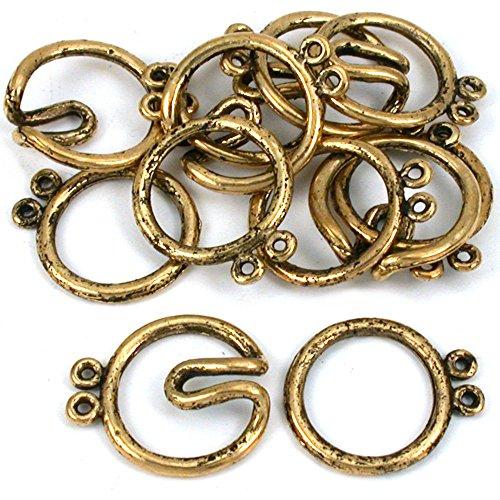2 Strand Hook & Eye Clasp Antq Gold Plt 21mm Approx 6 ()