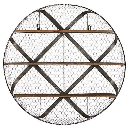 (Stone & Beam Rustic Round Metal Mesh Hanging Wall Shelf Unit with 3 Shelves - 30 Inch, Natural Wood and Galvanized Iron)