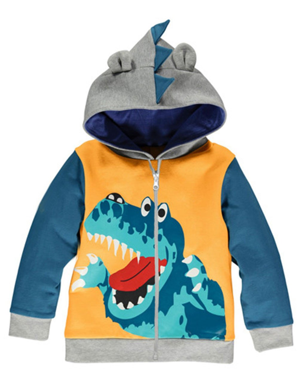 LitBud Toddler Boys Hoodies Jacket Cartoon Dinosaur Zipper Packaway Autumn Coat for Kids 1-5 Years