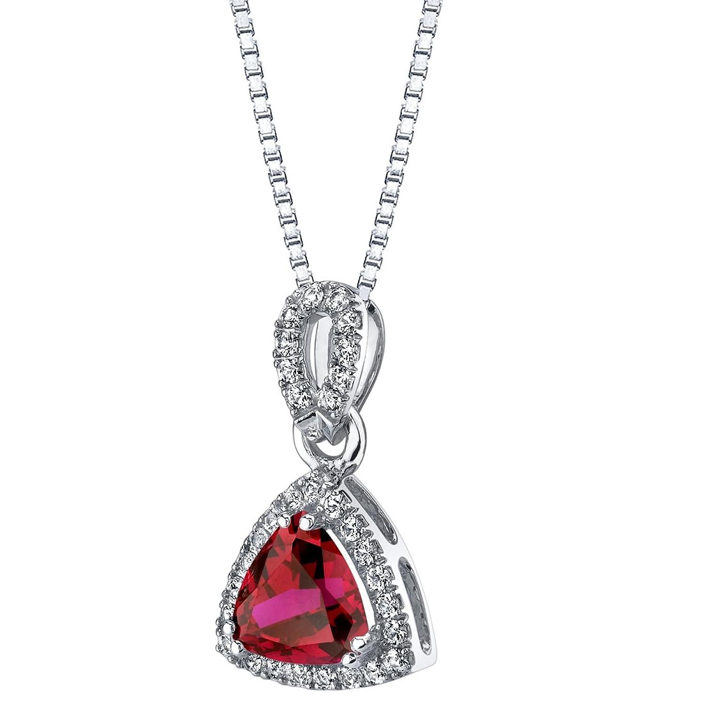 trillion-cut Created Ruby Haloペンダント14 Kホワイトゴールド(2.50カラット) B07685873H