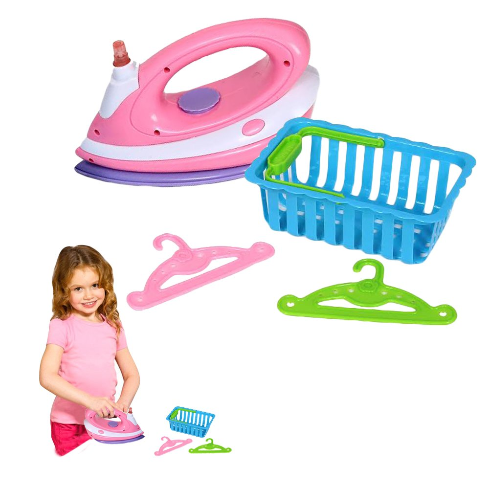 Toy Cubby Kids Pretend Play Ironing Playset with Laundry Basket and Accessories
