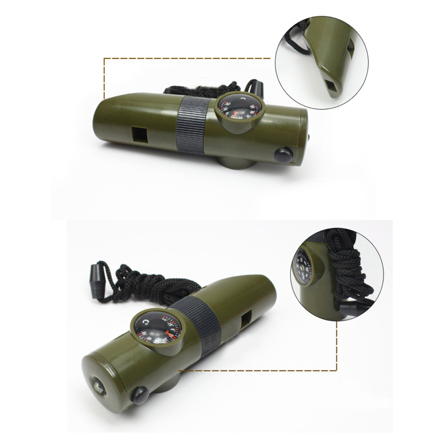 TRENDBOX Multifunctional 7 in 1 Camping Hiking Outdoor Whistle Compass Magnifier LED Flashlight Thermometer Emergency Survival Traveling