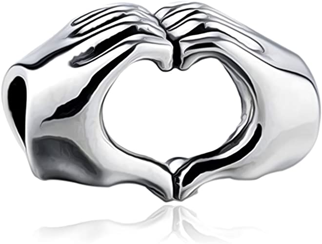 I Love You Heart in your Hands Charm Bead - S925 Sterling Silver fits  Pandora Women's Charm Bracelets - Gift boxed