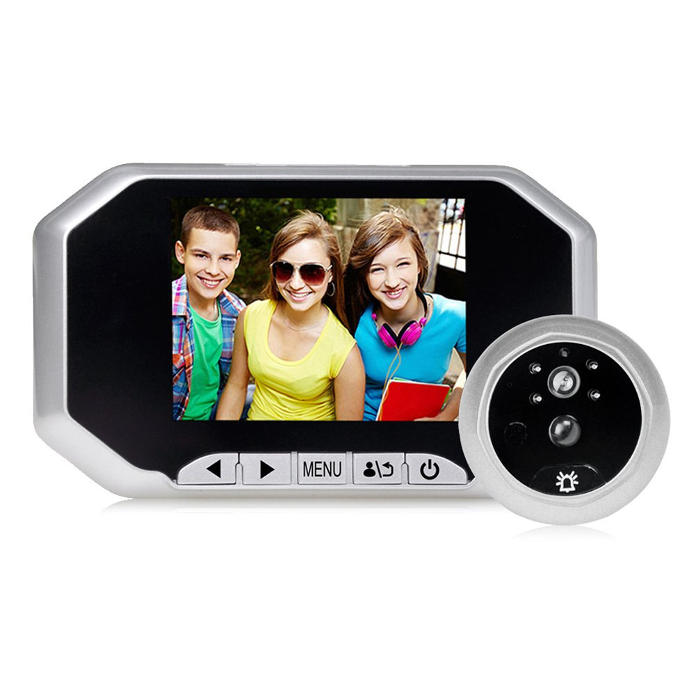 Door Peephole Viewer , Awakingdemi 3.5 inchesTFT LCD screen160°PIR Motion Sensor IR Night Vision Digital Door Eye Doorbell Camera , Motion Detection Photo Taking((Silvery) by Awakingdemi