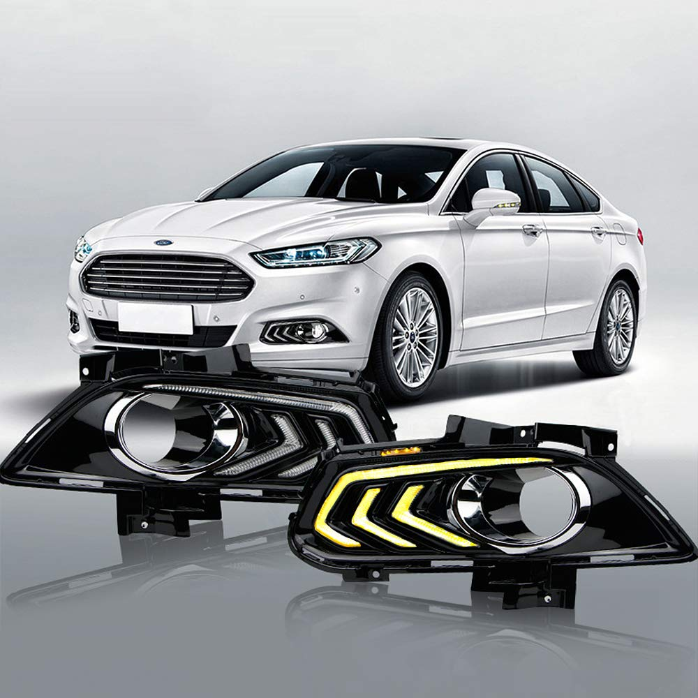 MotorFansClub Daytime Running Fog Lights Lamp LED DRL for Ford Fusion Mondeo 2013-2016 with Turn Signal(White & Yellow)