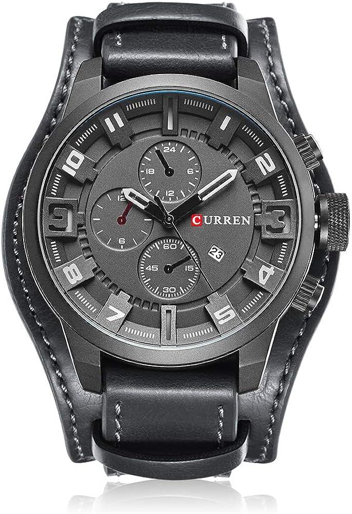 Curren Reloj deportivo de cuarzo para hombre, con calendario, esfera grande, correa de cuero