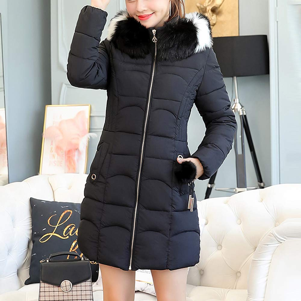 Amazon.com: AOJIAN Women Jacket Long Sleeve Outerwear Fuzzy Hooded Zipper Quilted Slim Solid Coat Black: Clothing