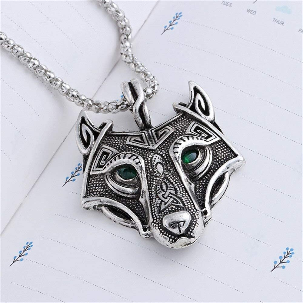 Viking Wolf Head Pendent Necklace Brass Colour