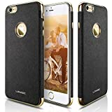 iPhone 6s Case, iPhone 6 Case, LOHASIC [Vintage Leather] Modern Textured Grip Cover Electroplate Frame [Slim Fit] Flexible Soft Cases with Excellent Shockproof for Apple iPhone 6s & iPhone 6 - [Black]