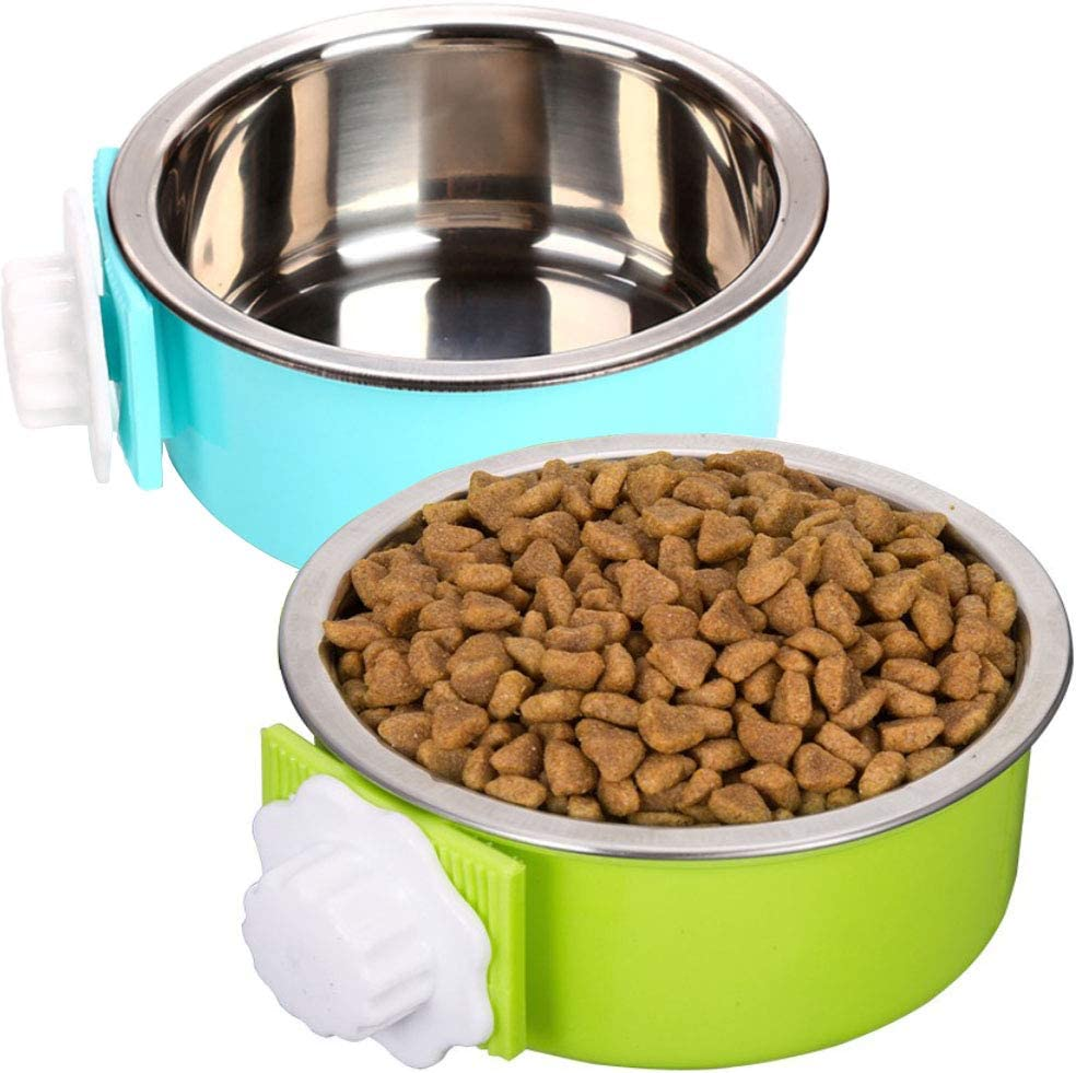 ZYYRT Crate Dog Bowl Set Removable Stainless Steel Hanging Cat Cage Bowl Food & Water Feeder Coop Cups for Puppy, Birds, Rats, Guinea Pigs (2 Pack, Blue and Green)