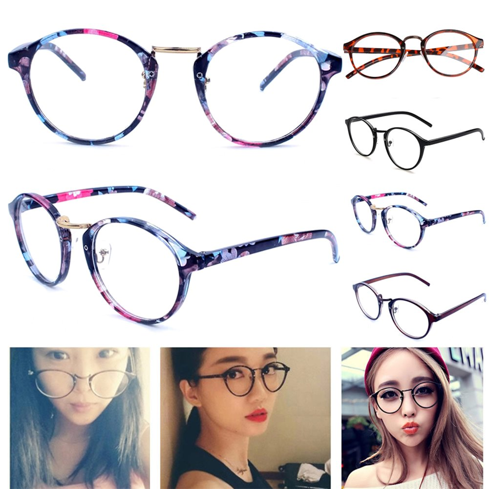 Amrka Retro Round Nerd Glasses for Women Men Vintage Eyeglasses with Round Clear Lens 56mm Unisex (Coloured glaze flower) by Amrka (Image #3)