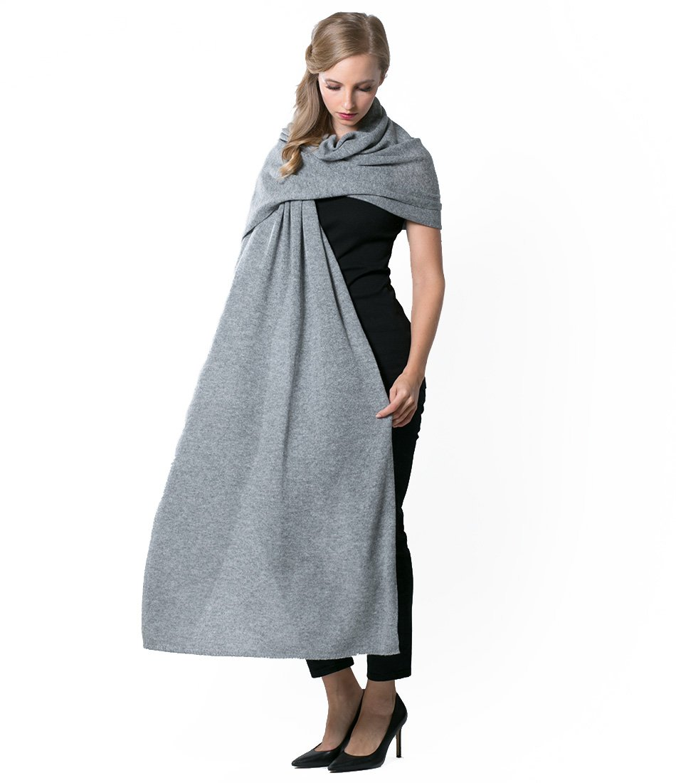 Super Soft Oversized 100% Cashmere Travel Blanket Scarf Wrap - Heather Grey