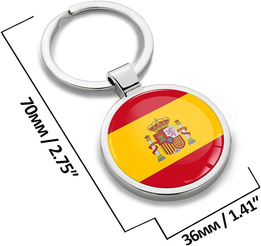 Biomar Labs Schlüsselanhänger Metall Keyring Mit Geschenkbox Autoschlüssel Geschenk Metall Schlüsselanhänger Schlüsselbund Edelstahl Spanien Spain Flagge Kk 191 Bekleidung