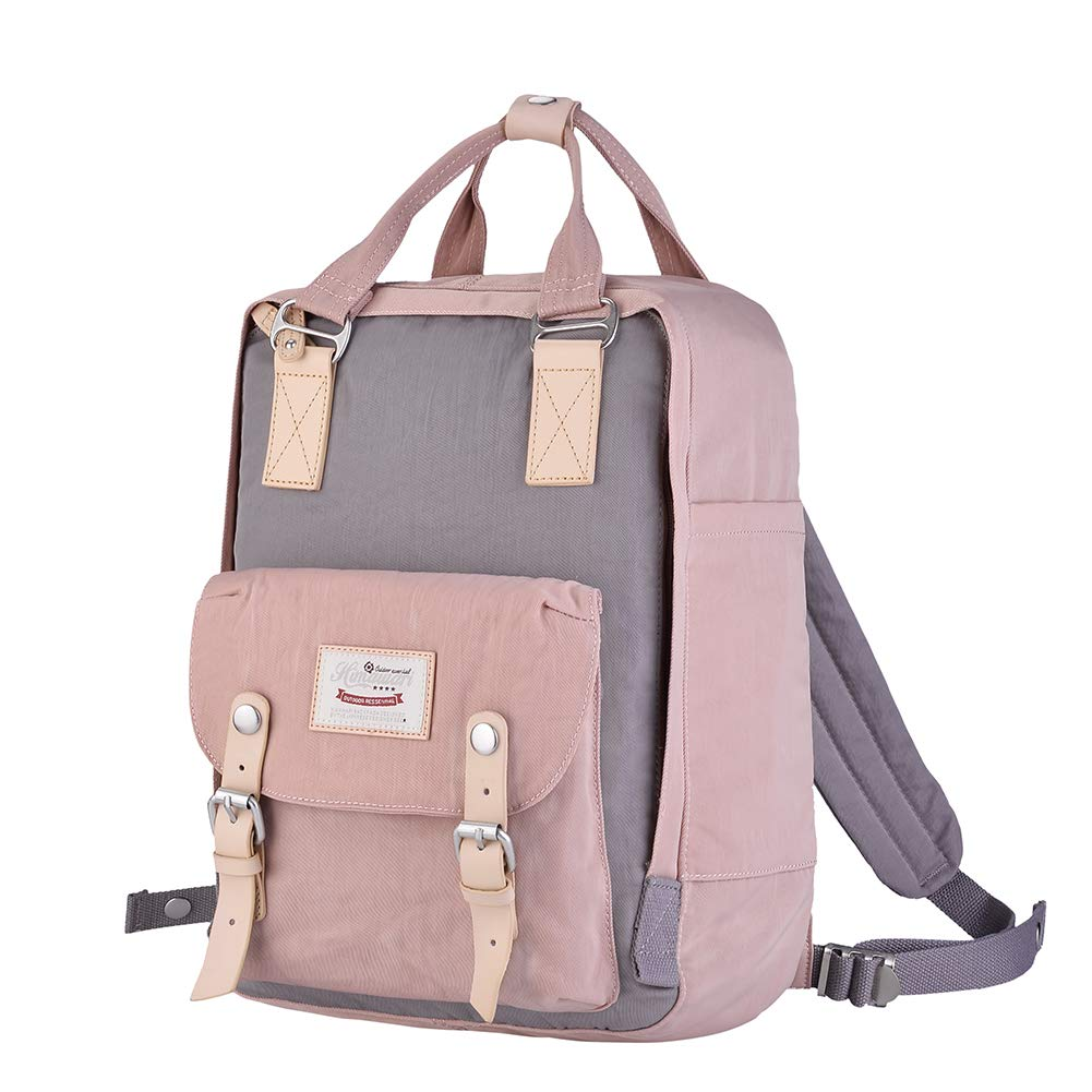 Himawari Backpack/Waterproof Backpack 14.9'' College Vintage Travel Bag for Women,13inch Laptop for Student (Pink&Gray) by Himawari