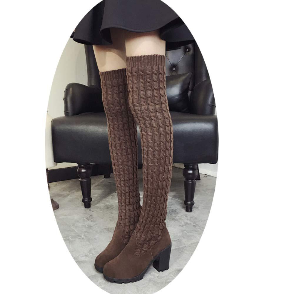 Damenstiefel Warme Strickende Lange Stiefel Dicke Kniehohe Damenstiefel Warme Oberschenkelhohe Stiefel Mode Mit Hohem Schlauchstiefel