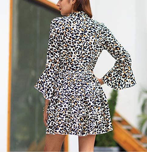 Da Vestito Stile Maxi Stampato Pietra Slim Leopard Boemo Fascia Con Fengjingyuan Risvolto yifu Donna Abito In PIEwY