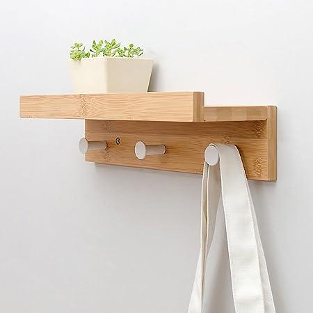 Coat Rack Wall Mounted Coat Hook Rack Solid Wood Metal Hooks Storage  Furniture Hanger Sturdy Bedroom