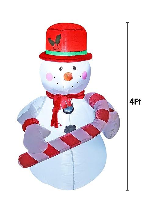 4 pies hinchable de Navidad muñeco de nieve con sombrero ...