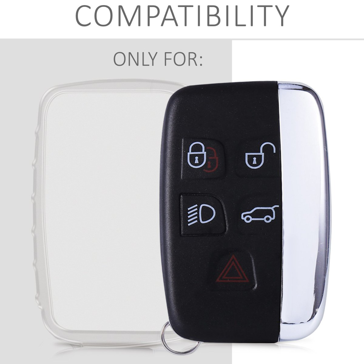 kwmobile Car Key Cover for Land Rover Jaguar Soft TPU Silicone Protective Key Fob Cover for Land Rover Jaguar 5-Button Remote Car Key Silver Matte