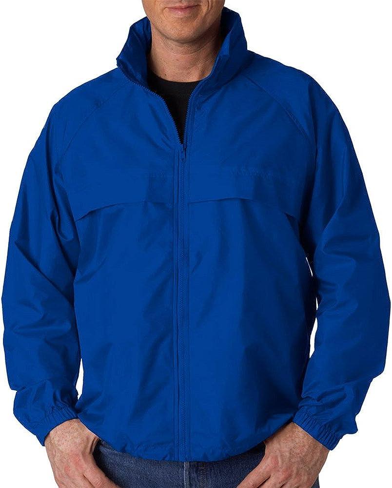 Ultraclub Adult Full-Zip Hooded Pack-Away Jacket