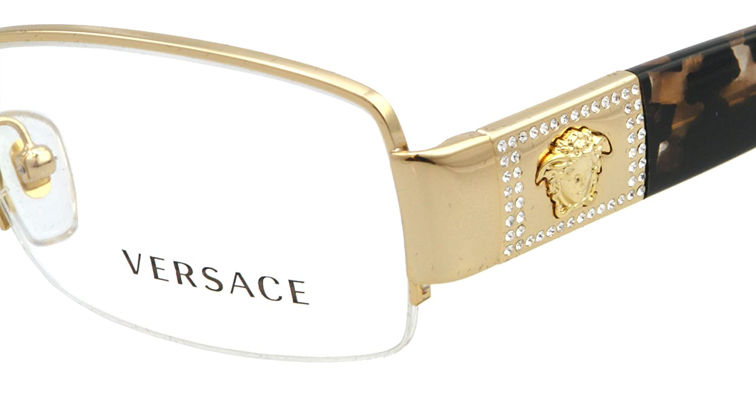 amazoncom versace ve 1175b eyeglasses w gold frame and non rx 51 mm diameter lenses versace shoes