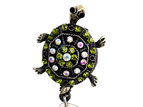 Amazon.com: Tortuga Verde Rhinestone retráctil Badge Reel ...