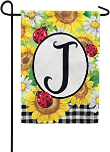 Custom Decor Sunflower Ladybugs - Letter J - Embroidered Monogram - Decorative Double Sided Flag - Garden Size, 12 Inch X 18 Inch, Licensed, Copyright & Trademark CDI. USA