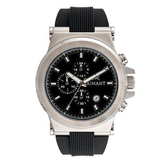 c46e44a328 Reloj de Hombre AIMANT Monaco Silver with Black Silicone Strap GMO -180SI1-1S-