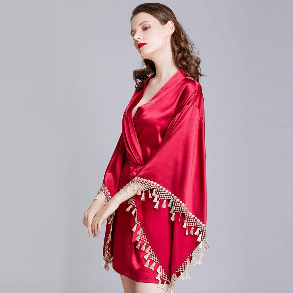 Lingerie Sleep Sets for Women Silk Lace Stitching Robe Dress Home Service Pajamas Wine