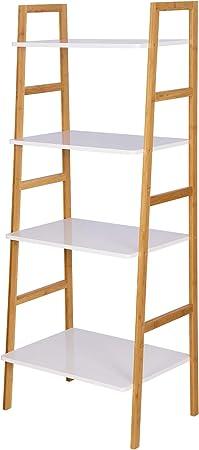 WOLTU Estantería con 4 Escalera Bambú Estante Madera de Almacenamiento Multifuncional Estantería para Baño Ducha Cocina Sala Oficina Comedor 60 x 40 x 148cm RG9326: Amazon.es: Hogar