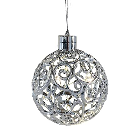 lighted led filigree silver ball ornament hanging christmas tree decoration - Hanging Lighted Christmas Decorations