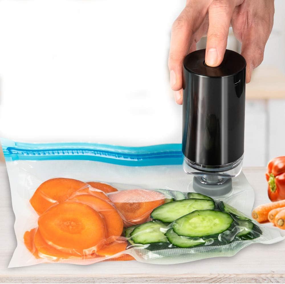 Azmuth Portable Mini Vacuum Sealer Machine,Food Handheld Automatic Vacuum Sealer Electric Food Vacuum Sealer for Save Food Storage with 15pcs Reusable Food Sous Vide Bags (Black)