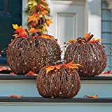 Set of 3 Lighted Twig Pumpkins Indoor Outdoor Fall Porch Decoration Autumn Harvest Thanksgiving Decor