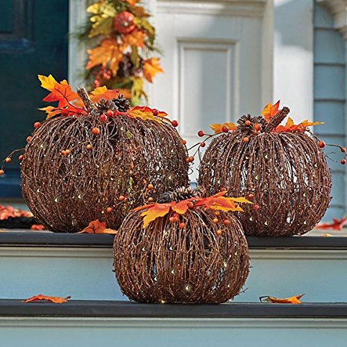Set of 3 Lighted Twig Pumpkins Indoor Outdoor Fall Porch Decoration Autumn Harvest Thanksgiving Decor (Pumpkin Lighted)