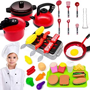 GRTLPOK Kids Kitchen Pretend Play Toys, 38 Pcs Kids Kitchen Playsets, Cooking Set for Toddlers, Pots & Pans and BBQ Grill for Kids, Burger Fries, Learning Gift for Baby Toddlers Girls Boys.