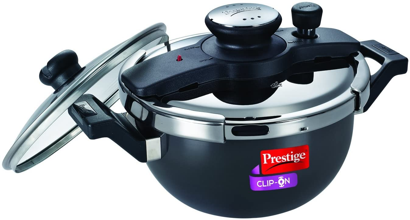 Prestige Clip On Hard Anodized Aluminum Kadai Pressure Cooker with Glass Lid, 3.5-Liters
