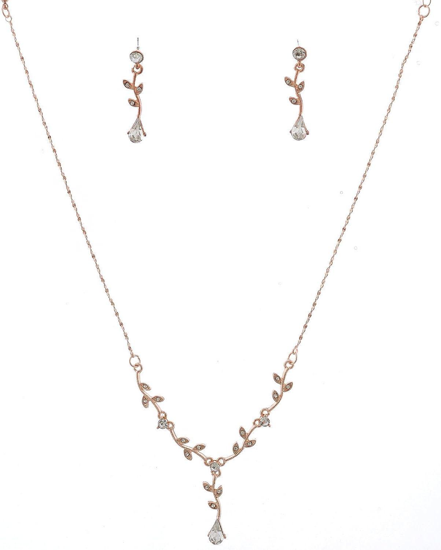 Amazon Com Topwholesalejewel Fashion Jewelry Set Rose Gold Plating Flower Necklace Earrings Set Clothing