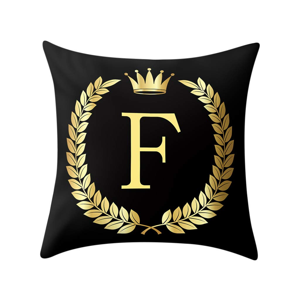 Weiliru Black Pillow Cover Throw Pillow Case English LetterThrow Pillow Case Modern Cushion Cover Square Pillowcase Decoration for Sofa Bed Chair Car